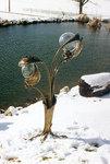 Zweiflammige Lampe mit Blättern
